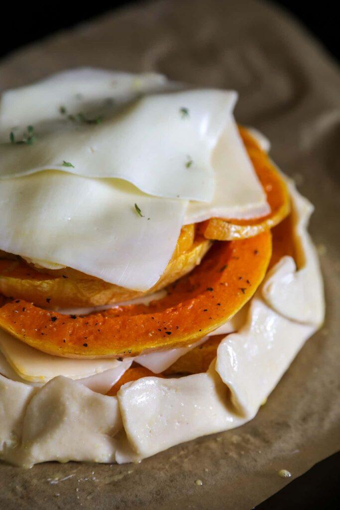 cheesy butternut squash galette