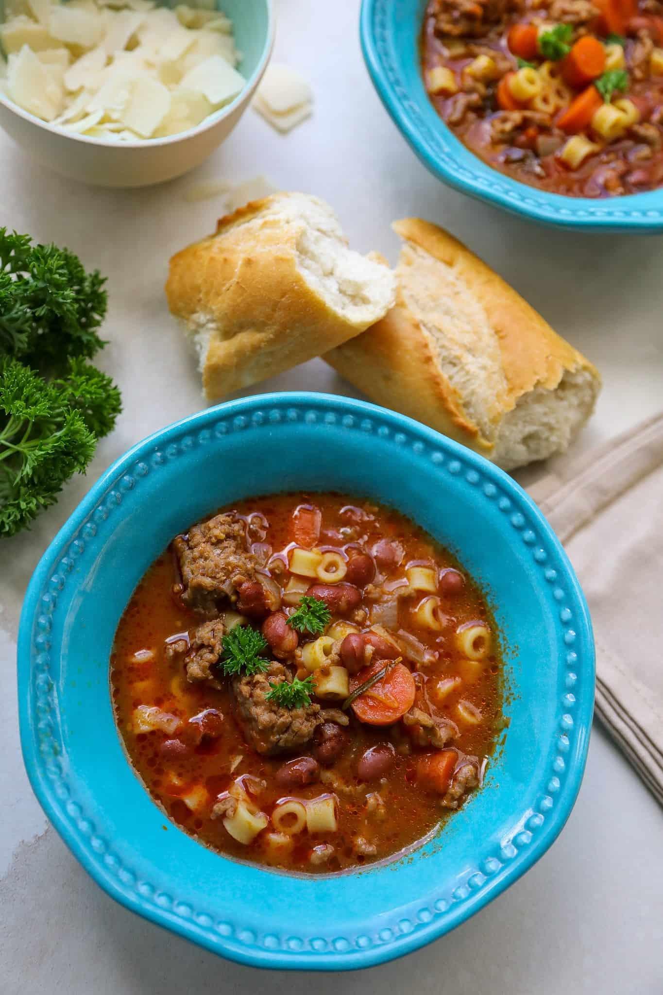 semi homemade pasta fagioli soup